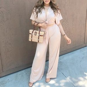 Tie Front Top And Wide Leg Pant Two Piece Set